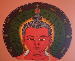 Buddha Amitabha, acrylic painting on the wall, 2014