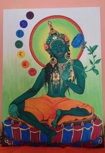 Tára (v tibetštině Dölma) je bódhisattva čili v překladu osvícená bytost, která se dle legendy zrodila ze slzy bódhisattvy Avalokitéšvary. Tára samotná má potom několik dalších forem, nejznámější jsou Bílá a Zelená Tára. Tato Zelená tára (Šjámatárá) je akrylová malba na kanvasu, a představuje živočišnou energii vtěleného soucitu. Na této malbě je navíc doplněna o sedmero čakerních center majících ve svém středu příslušnou magickou slabiku v klasickém devanagárovém písmu. #2015