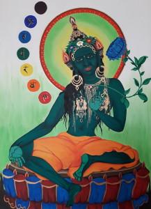 Tára (v tibetštině Dölma) je bódhisattva čili v překladu osvícená bytost, která se dle legendy zrodila ze slzy bódhisattvy Avalokitéšvary. Tára samotná má potom několik dalších forem, nejznámější jsou Bílá a Zelená Tára. Tato Zelená tára (Šjámatárá) je akrylová malba na kanvasu, a představuje živočišnou energii vtěleného soucitu. Na této malbě je navíc doplněna o sedmero čakerních center majících ve svém středu příslušnou magickou slabiku v klasickém devanagárovém písmu. 2015